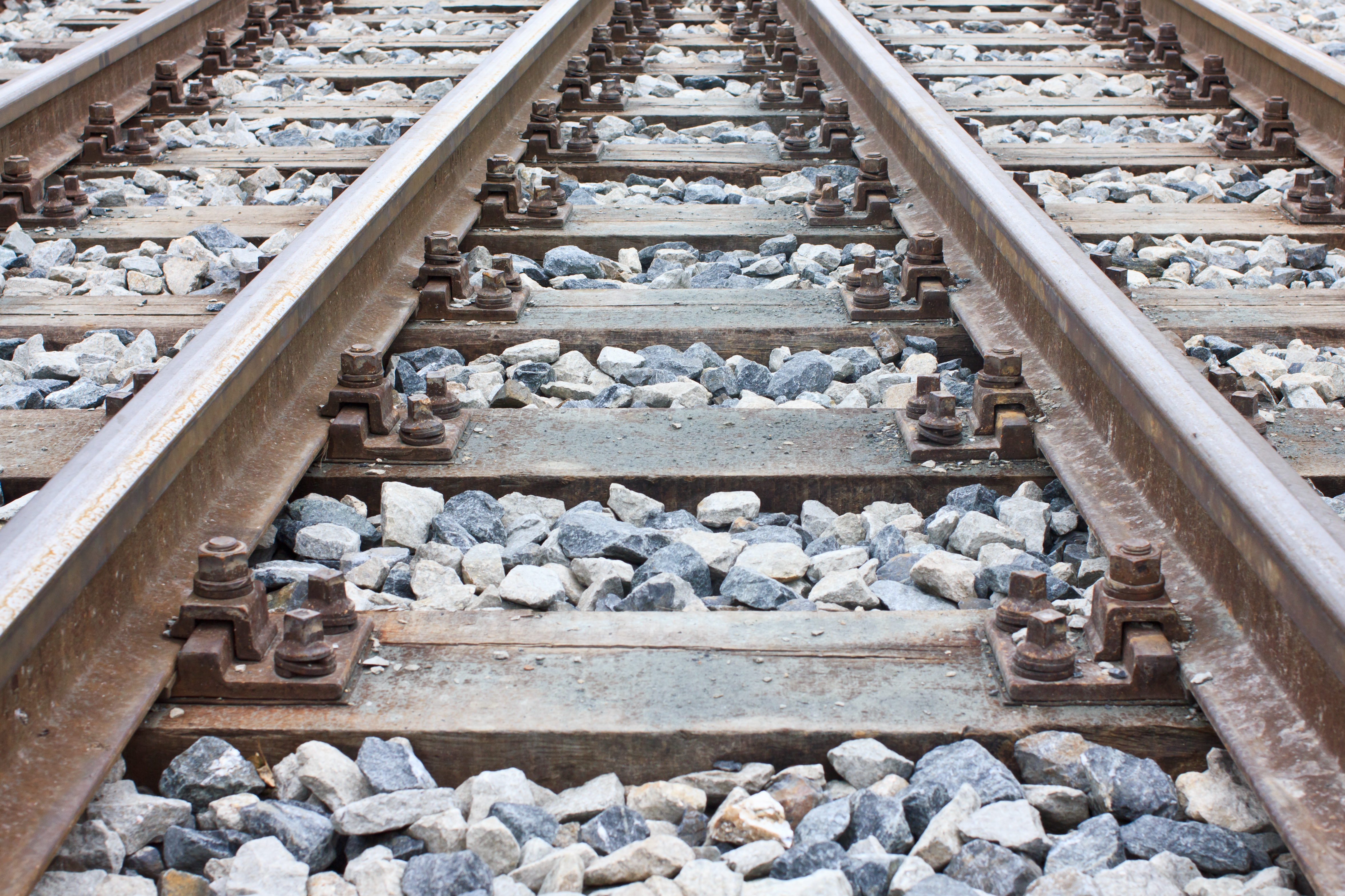 Newly laid train tracks on timber ballasts